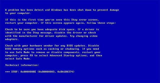 lỗi máy tính màn hình xanh