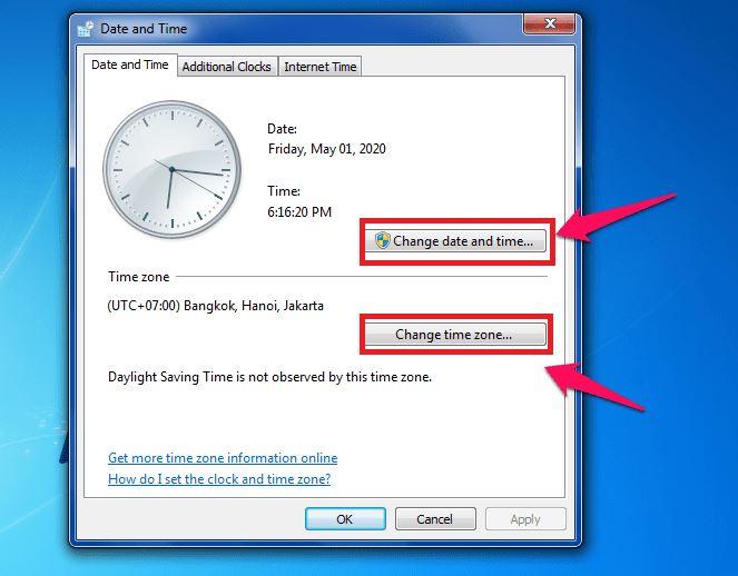 cài đặt chính xác ngày giờ cho máy tính