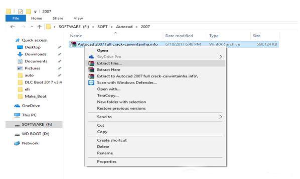 download autocad về và giải nén khi cài đặt