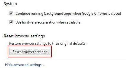 khôi phục và cài đặt về mặc định ban đầu - Reset brower settings