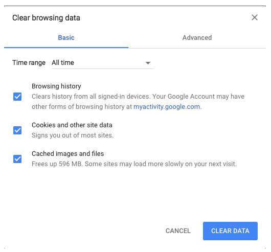 fix lỗi kết nối riêng tư bằng cách xóa lịch sử truy cập website