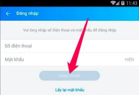 chọn cập nhật để đổi mật khẩu zalo