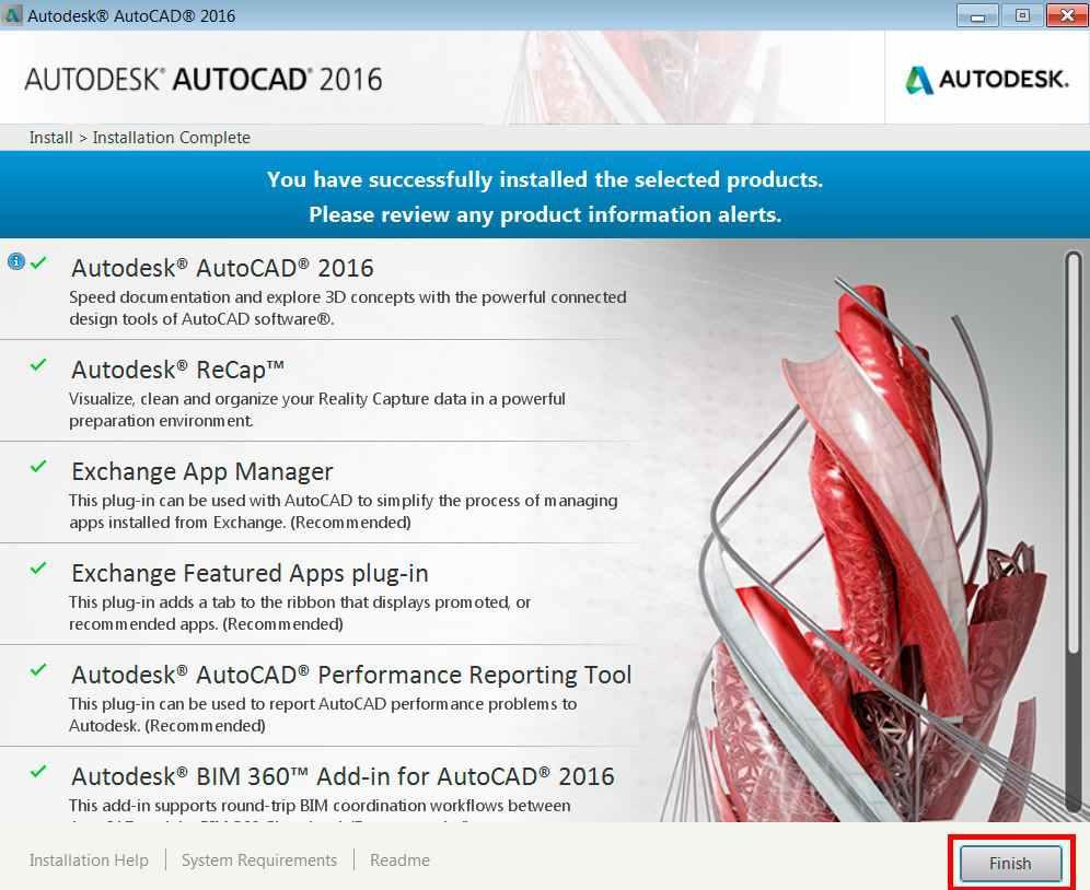 Quá trình cài đặt Autocad hoàn thành