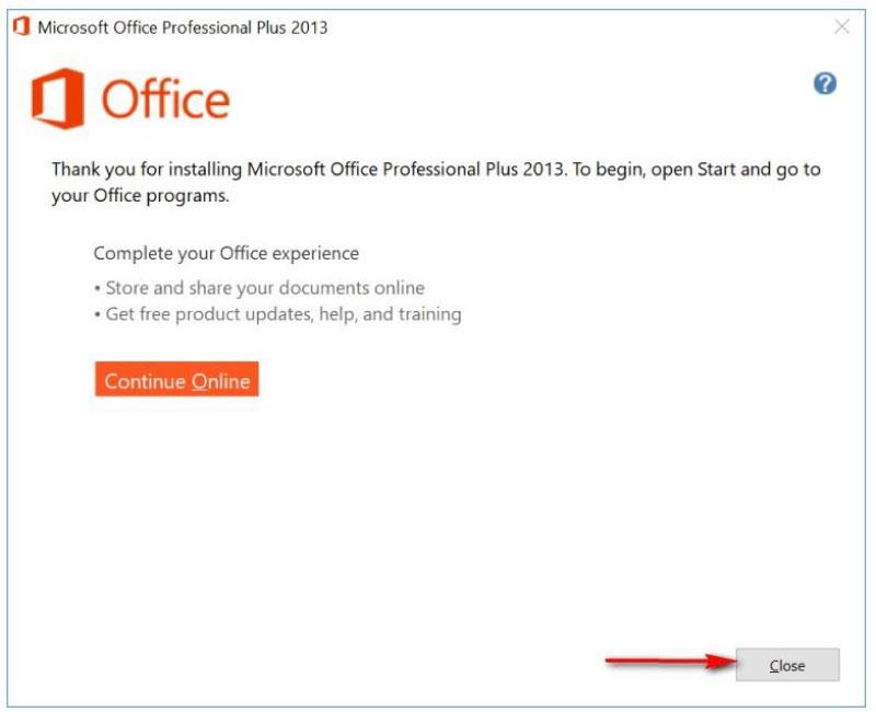 quá trình cài đặt office 2013 kết thúc
