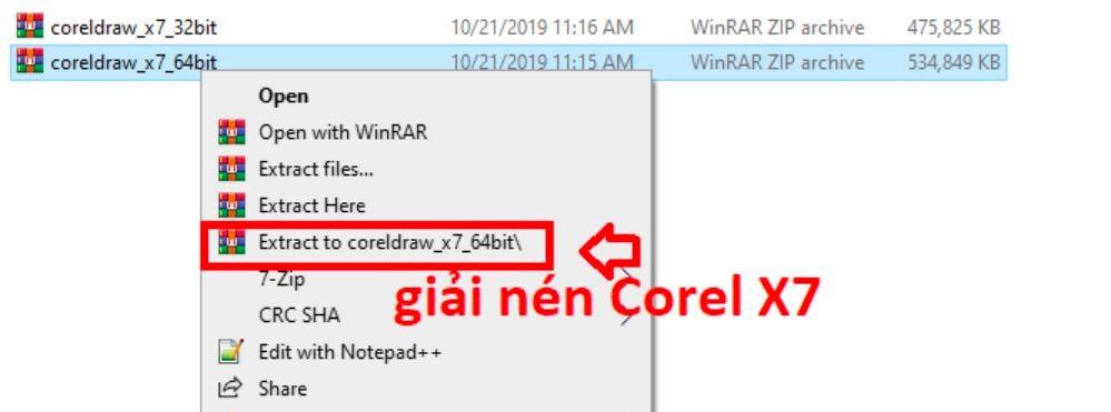 Giải nén file cài đặt corel x7
