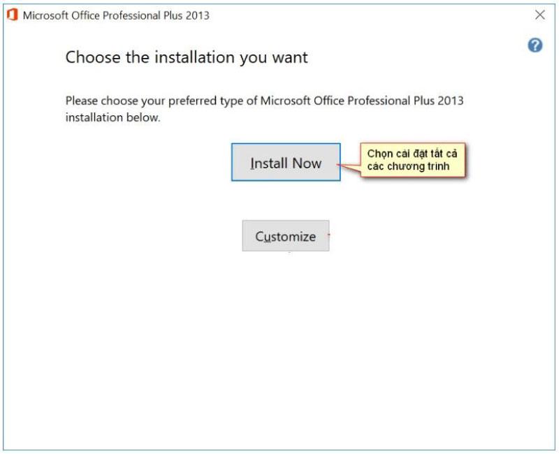 chọn install để tiến hành cài đặt office 2013