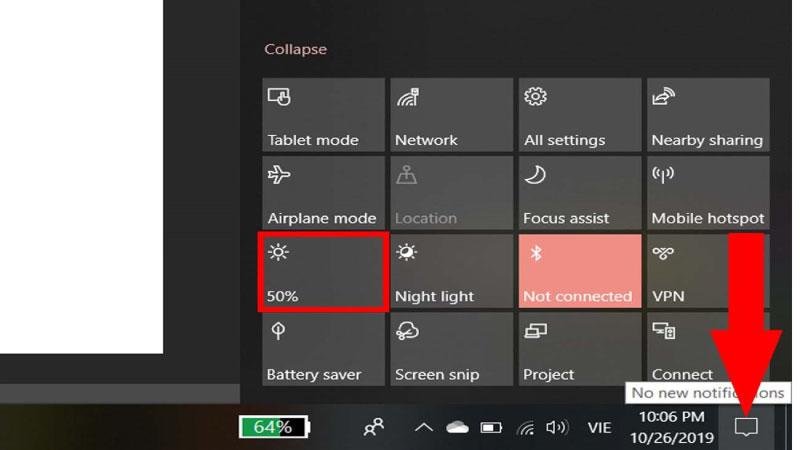 Bật tắt độ sáng màn hình qua nút vật lý trên màn hình
