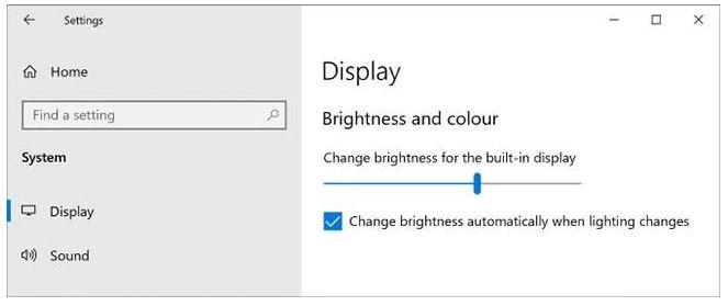Điều chỉnh độ sáng màn hình ở phần cài đặt Setting