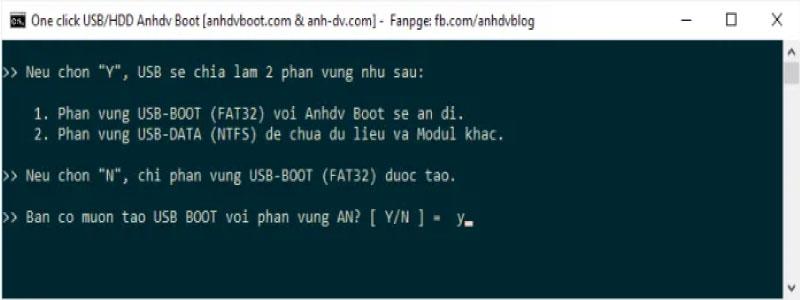 Chọn số phân vùng cho USB Boot