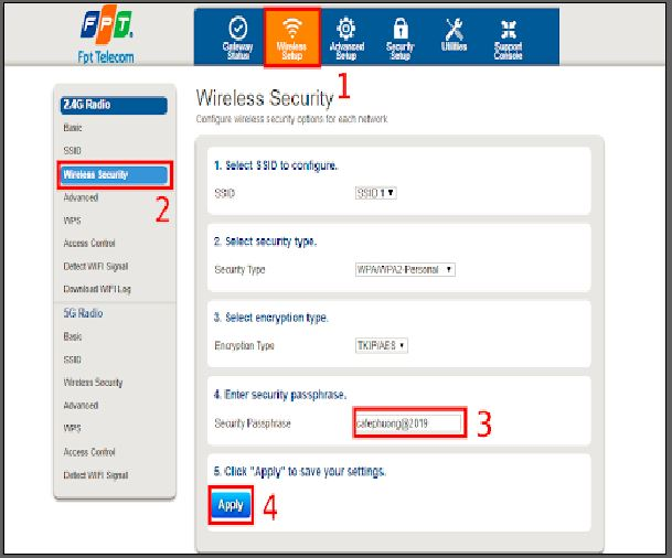 hướng dẫn Cách đổi pass wifi FPT bằng máy tính
