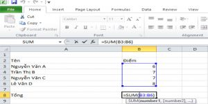 hướng dẫn sử dụng hàm sum trong excel