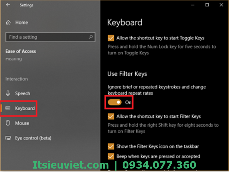 Chuyển từ OFF sang ON trong mục Ignore or slow down brief or repeated keystrokes and adjust keyboard repeat rates.