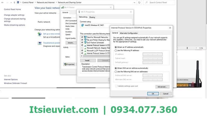 kiểm tra địa chỉ IP khi máy tinh không vào được mạng