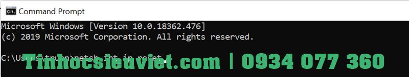 "nhập lệnh ""netsh int ip reset"" rồi bấm Enter."