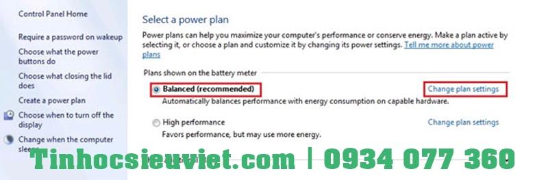 Tùy chỉnh lại cài đặt Power Options cho máy tính