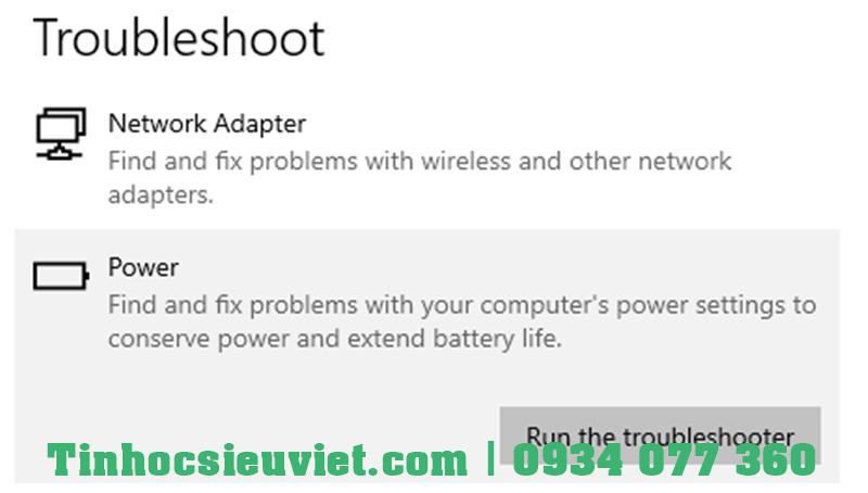 Dùng Troubleshoot sửa lỗi máy tính bật không lên