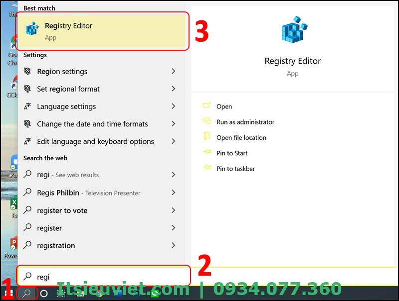 Tìm và mở Registry Editor khi cổng usb bàn phím bị khoá