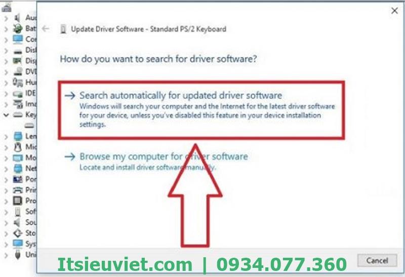 Hệ thống sẽ tìm driver phù hợp để cài đặt