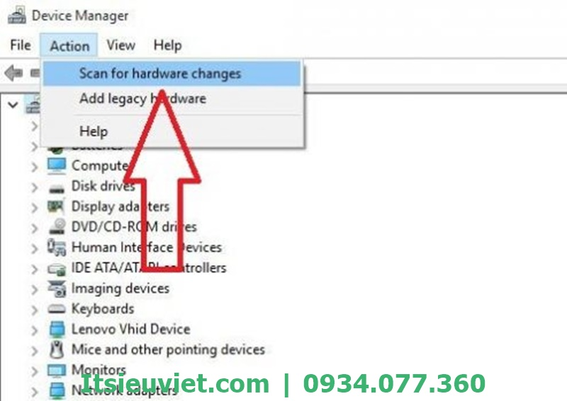 Chọn Scan for hardware changes trong tùy chọn Action trên cửa sổ Device Manager.