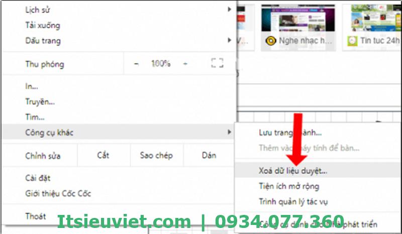 Xóa dữ liệu web khi không xem được youtube