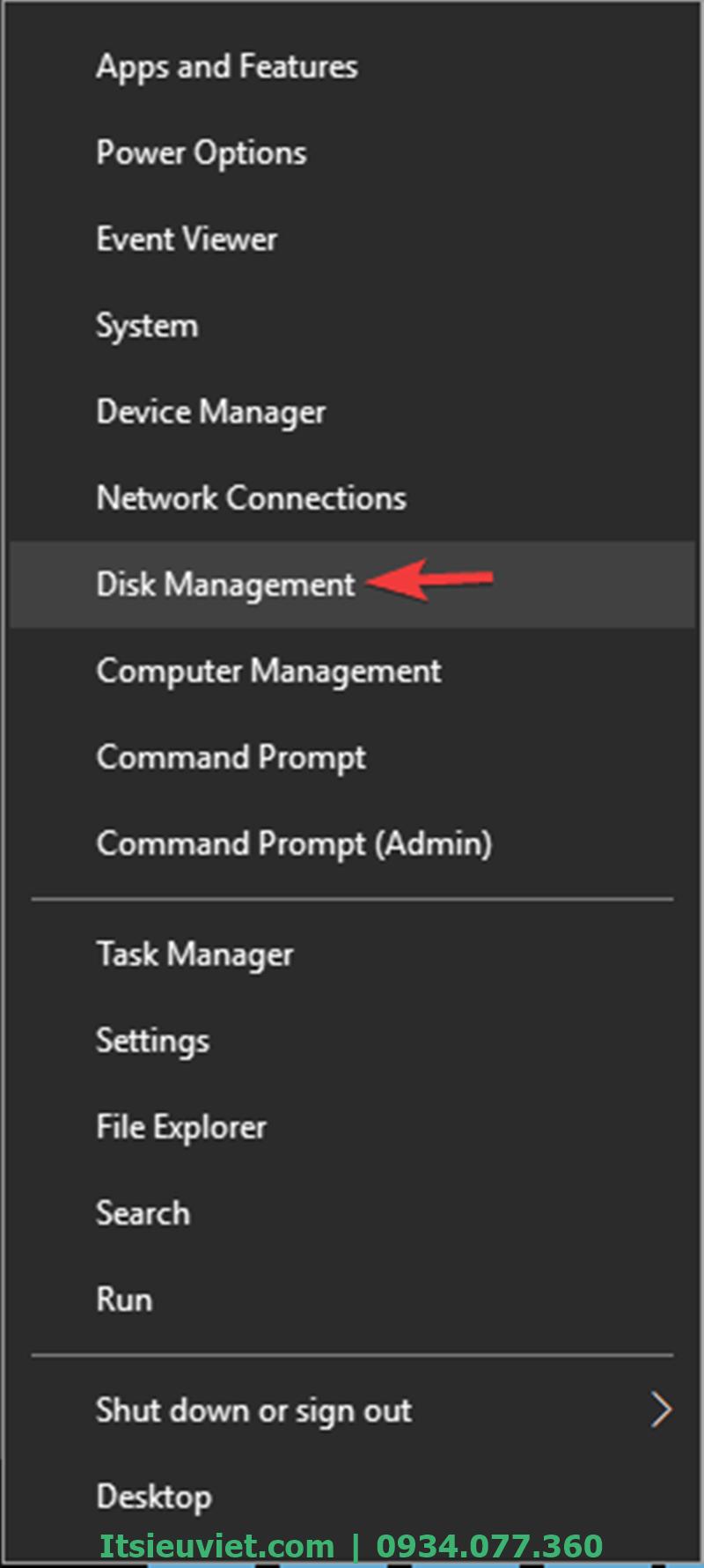 Chọn Disk Management để truy cập ổ cứng