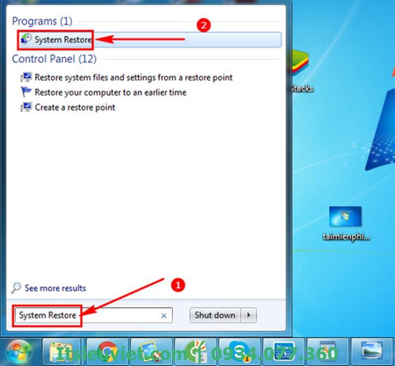 Sử dụng System Restore trên máy tính để sửa lỗi màn hình xanh